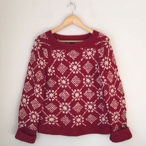 American Eagle Outfitters Red Fair Isle Sweater